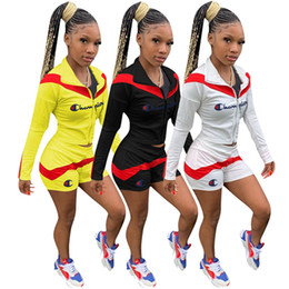 $enCountryForm.capitalKeyWord Australia - Champion Patchwork Women Tracksuit Splicing Two Pieces Outfits Long Sleeve Crop Hoodie Jacket + Shorts Sets Brand Sport Suit S-3XL C62806