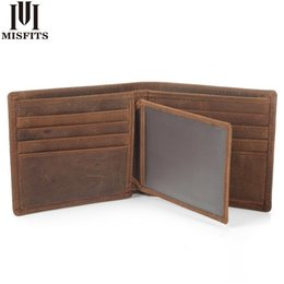 China Misfits New Vintage Cowhide Mens Wallet Genuine Crazy Horse Leather Man Purse Brand Male Credit&id Multifunctional Brown Wallets MX190720 cheap branded mens wallets suppliers