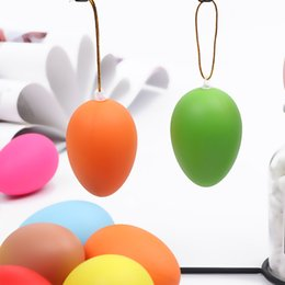 diy easter decorations NZ - 12pcs Mixed Color Plastic Hanging Easter Egg Easter Decoration For Home Kids Children Favors DIY Painting Egg With Rope