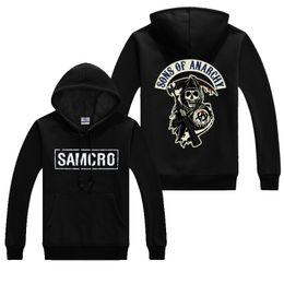 Toptan satış Sonbahar anarşi coats Mont Moda SAMCRO Erkekler SOA Spor Hoodies Erkek Rahat Tişörtü Hip Hop baskı uzun kollu Hoody # 345038