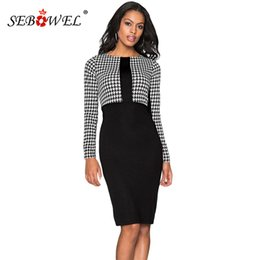 71c8a3553ae Formal working dress women online shopping - SEBOWEL Casual Fashion  Houndstooth patchwork Office Pencil Midi Dress