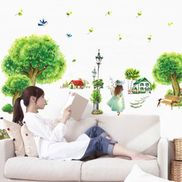 $enCountryForm.capitalKeyWord NZ - 3D Green Plant Flowers Idyllic Girl Wall Sticker Home Decor Bedroom Window Pastoral Wallpaper Self-adhesive PVC Art Mural Poster
