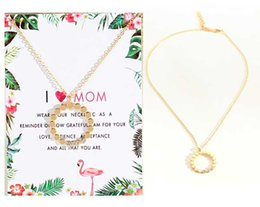 Elegant Diamond Chokers NZ - Women Diamond Round Pendant Necklace(I Love Mom) Elegant Ladies Clavicle Necklace with Greeting Card Gold and Silver Colors-A058