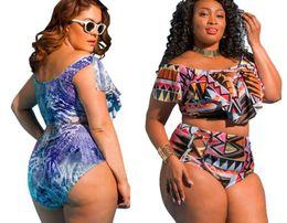 Swimwear red online shopping - 2019 plus Big sport Bikini Sets High waisted print fat bikini one shoulder multi rope swimwear large multi color panel Sexy flexible stylish
