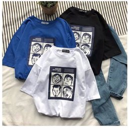 Discount korean style t shirt man - 2019 new o-neck regular summer casual style t-shirt Korean ins men's head tops cotton fashion high quality cotton t