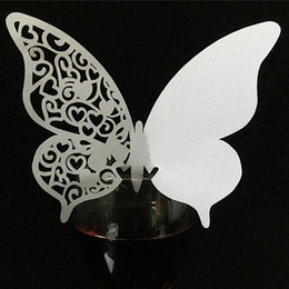 birthday wine glasses Australia - 10 Colos 50pcs Butterfly Laser Cut Escort Wine Glass Cup Place Card Table Name Gift Card For Birthday Wedding Party Favor Decor