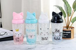$enCountryForm.capitalKeyWord Australia - 400ml Cute Water Bottle Cartoon Cat Ice Cup Outdoor Portable Carry Cup Lady Gift Water Bottles Cold storage cup with straw