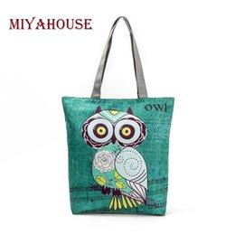 Owl Ladies Handbag Australia - Miyahouse Cute Owl Printed Women's Casual Tote Large Capacity Canvas Female Shopping Bag Ladies Shoulder Handbag Beach Bag