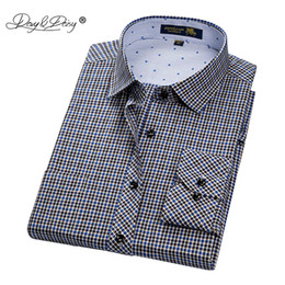 Men S Linen Dress Shirts Australia - Davydaisy New Arrival Men Shirt Male Casual Shirt Men's Long Sleeved Striped Plaid Shirts Business Dress Shirts S-4xl Ds179 Y190506
