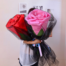 $enCountryForm.capitalKeyWord Australia - Giant single PE rose artificial flower bouquet valentine's gift simulation rose flower head wedding rose decoration fake flowers