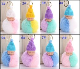 baby sleeping bag hats NZ - High quality Fluffy Sleeping Baby Doll 8cm Knit Hat Keychain Faux Rabbit Fur Bag Pom Pom Hat Key Ring Soft Pendant DHL
