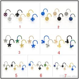 316l surgical steel nose ring NZ - 7 styles 316L Surgical Steel Punk Nose Stud Cross  Smile Flower Star Nose Ring Nose Body Piercing Free Shipping 6pcs Lot