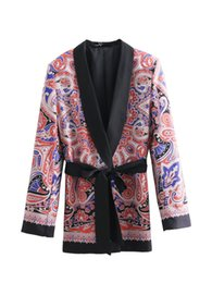 women outwear floral UK - New Arrival Casual Blazer Jacket Flora Print Long Sleeve With Belt For Women Medium Long Outwear Coats European Style Clothing A75
