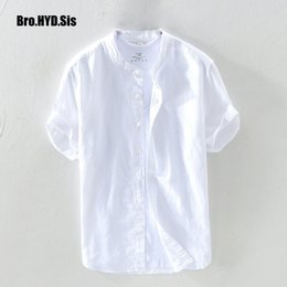 $enCountryForm.capitalKeyWord Australia - Casual Cotton Linen Short Sleeve Shirts Men Summer Shirts Button Down Flax Thin Solid Man Clothing Slim Fit Camisa