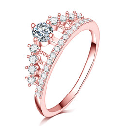 lady princess jewelry NZ - New Fashion Ring For Women Wedding Gold Pretty Crown Lady Crystal Ring Princess Ring Stainless Steel Jewelry Dropshipping