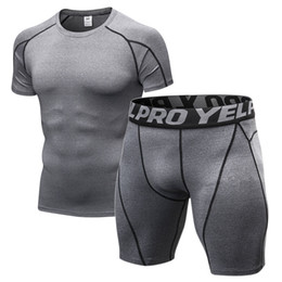 wearing compression shorts NZ - Men's Compression Gym Clothing Men Jogging Suits Sports Sets Fitness Clothes Black Tights Running T Shirt Shorts Gym Wear Men #78300