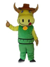 $enCountryForm.capitalKeyWord Australia - 2018 High quality hot a yellow cattle mascot costume wear green suit with a small bell for sale
