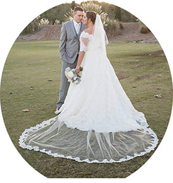 one tier long wedding veil NZ - Bohemians 1 Tier 3M Long Lace Ivory White Wedding Cathedral Long Veil 11062