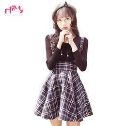 485b387d4 Korean New Fashion Plaid Suspender Skirt Autumn Japanese Vintage Wool Slim  Pleated Skirts College Sweet Strap Mini Skirts Y19043002