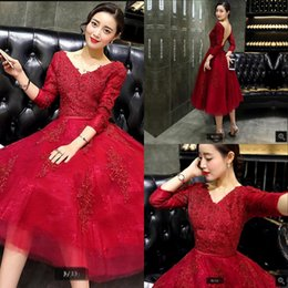 Best Red Party Dresses Australia - 2019 real picture red lace open back sexy prom dress 3 4 sleeve beading sequins formal cocktail party prom gowns best selling prom dresses
