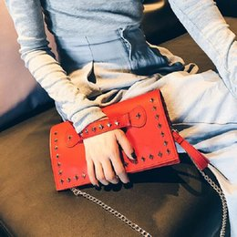 red gold clutch Australia - 2018 Rivet Red Women Clutch Bag Female Day Clutch Stud Quality Leather Women Purses And Handbags Evening Cutch Bags