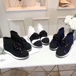 $enCountryForm.capitalKeyWord NZ - Hot Sale-Designer Sock Knit Boost for women Flower Flat bottom Leisure Stretch Lady Boots Casual Shoes