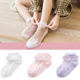 tutu socks girls Australia - 1 Pair Princess Toddler Cute Ankle Socks Ruffle Frilly Lace Gauze Summer Bow Kids Breathable Baby Girls Short Newborn Tutu