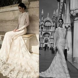 Inbal Dror Straps Backless Lace Australia - Inbal Dror Mermaid Wedding Dresses 2019 Designer Sexy High Neck Sheer Long Sleeve Beach Lace Beaded Luxury Vintage Garden Bridal Gowns
