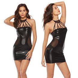 erotic pvc dresses UK - Black Fashion Street Style Dresses Sexy Sleeveless Patent Leather Night Party Dress Erotic Halter PVC Clubwear