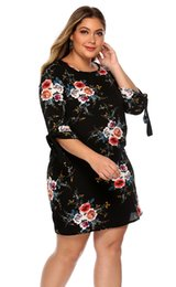 Wholesale mini tunic for sale – plus size IN STOCK Women Summer Dress Boho Style Floral Print Chiffon Beach Dress Tunic Sundress Loose Mini Party Dress Vestidos Plus Size XL XL