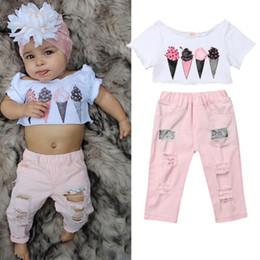 $enCountryForm.capitalKeyWord Australia - 2019 Toddler Kids Baby Girl Clothes Set Summer Short Sleeve Ice Cream Crop Tops Pink Denim Pants Outfits Costume Clothing 2PCS