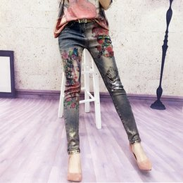 materials painting NZ - 3D Stretchy Jeans With 3D Flowers Pattern Painted Pencil Pants Woman Elegant Style Denim Pants Trousers For Women Jeans