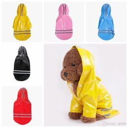 $enCountryForm.capitalKeyWord NZ - PU Reflective Pet Raincoats Outdoor Jacket Buttons Dog Hooded Rainwear Anti Snow Wind Proof Doggie Reflective Strip Large Pet Trouser Suit