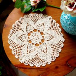 Crochet Round Cloths NZ - JX-LCLYL 300mm Round Hand Crochet Floral Lace Hollow Table Mat Cloth Doily Coaster Cotton Blend D19010902