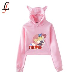 Wholesale women cat hoodie for sale – custom Fairy tail Cat Ear Cap Sexy Hoodies Fashion Trend Cat Crop Top Women Hoodies Sweatshirt Harajuku Sexy Hot Kpop Clothes