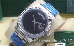 Luxury Big Face Watches Men Australia - 2018 luxury watch men automatic 36MM DAY DATE Big Black face Mechanics men's watches Sapphire original Box Stainless steel clasp Watches 23.