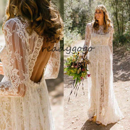 $enCountryForm.capitalKeyWord Australia - Vintage Crochet Lace Bohemian Wedding Dresses with Long Sleeve 2019 High Neck Low Back Boho Country Bridal Wedding Gown Vestido De Noiva
