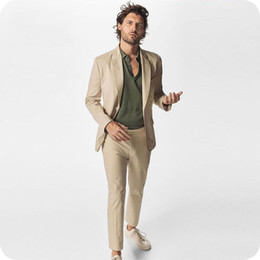 mens light yellow wedding suits NZ - Summer Khaki Man Blazer Jacket Business Coat Pant Skinny Notched Lapel Costume Homme 2Piece Slim Fit Best Man Suit Mens Wedding Suits