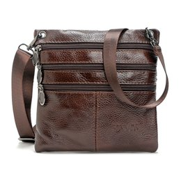 Brown Cow Leather Bags Australia - Genuine Cow Leather Men Casual Messenger Bag Zipper Design Solid Crossbody Bags Mens Large Capacity Brown Shoulder Bag for Man