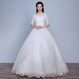 Опт Половина рукава кружева тюль бальное платье свадебные платья с кристаллом 2019 Scoop шеи свадебные платья Vestido Novia
