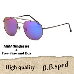 China High Quality Hexagon Real Glass Lens Sunglasses Men Driving Metal Mirror Sunglasses Women Male Female Eyewear Shades with original box cheap female driving glasses suppliers