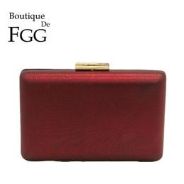 CoCktail purses online shopping - Boutique De Fgg Simple Design Red Pu Women Casual Evening Bag Box Clutch Purse Party Dinner Cocktail Handbag Chain Shoulder Bag Y19051702