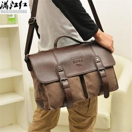 laptop bag motorcycle Canada - sales brand men handbag high quality wear-resistant canvas business briefcase multi-functional horizontal laptop bag large canvas should
