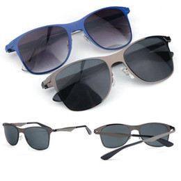 flat mirrors UK - New 20SS Flat Metal Sunglasses Men's Womens Brand Designer Sun Glasses Band Gafas de sol Gunmetal Blue Frame with cases
