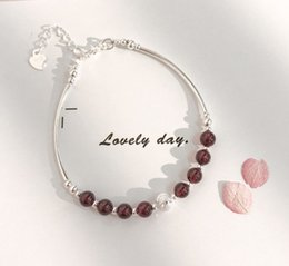 pc jewellery UK - Garnet bracelet in sterling silver 1 pcs for women new fashion simple jewellery in stock dropshpping