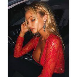 Fashion bodysuits For women online shopping - BKLD Autumn Fashion Red Lace Bodysuits For Women Long Sleeve Deep V Neck Sexy Clubwear See Through Women Bodysuits Romper