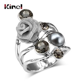 Chinese  Kinel 2017 Bohemian Big Crystal Rings For Women Antique Silver Color Inlaid Pearls Rose Vintage Wedding Ring Jewelry manufacturers
