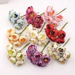 White Rose Crafts Australia - 6Pcs Mini Tea Rose Bud Artificial Flowers For Wedding Home Decoration Jewelry Accessories Fleurs Scrapbooking DIY Craft Supplies D19011101