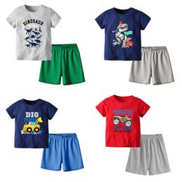Boy Beige vest online shopping - Kids Boys Clothing Set Cartoon Letters Dragon Multicolor Printed Shirt solid Short Summer Children Designer Clothes Outfit T