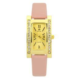 $enCountryForm.capitalKeyWord UK - Best Selling Ladies Leather Strap Creative Watch Temperament Square Quartz WristWatch Women Rhinestone Clock Zegarek Damski #W